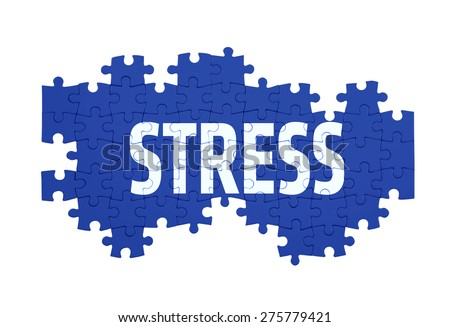 Puzzle with the STRESS word  isolated on white  - stock photo