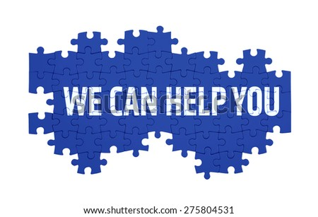 Puzzle with the WE CAN HELP YOU word  isolated on white - stock photo