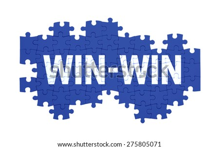 Puzzle with the WIN-WIN word  isolated on white  - stock photo