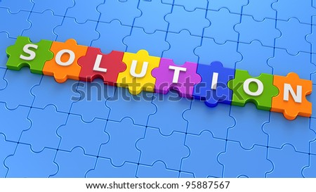 Puzzle with the word solution - stock photo