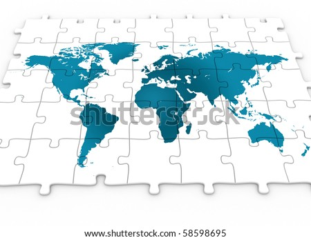 Puzzle world map - stock photo