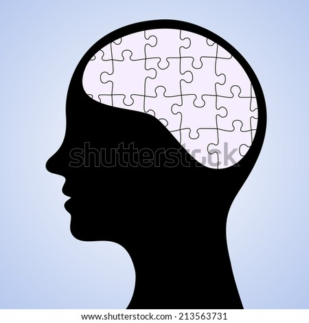 Puzzled Brain - stock photo