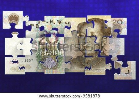 Puzzled chinese yuan bill
