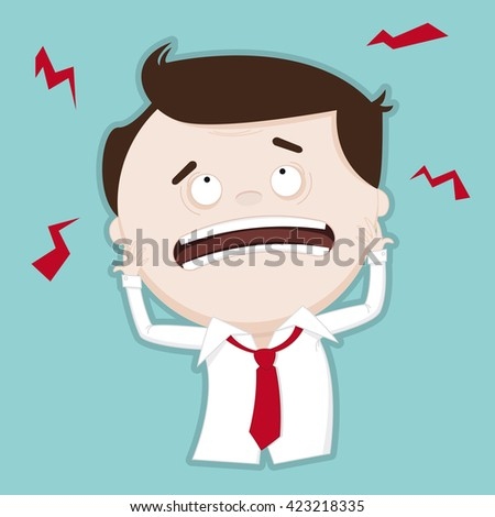 Puzzled / confused businessman - funny illustration - stock photo