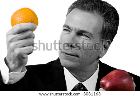Puzzled man confused by the infusion of color into his black or white world. - stock photo