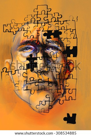Puzzled MENtality - stock photo
