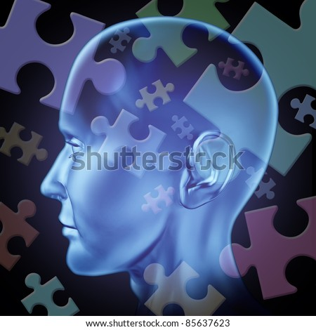 Puzzled mind and brain teasers symbol featuring a human head with jigsaw puzzle pieces for the concept of thinking and problem solving to find a solution and answers to mysteries of the brain. - stock photo