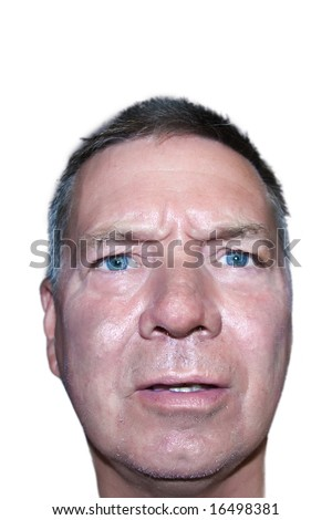 Puzzled senior man needing a shave looking into camera, isolated on white background. - stock photo
