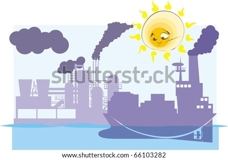 Puzzled sun looks on polluted earth colorful raster illustration - stock photo