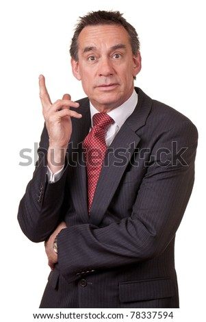 Puzzled Surprised Middle Age Business Man in Suit - stock photo