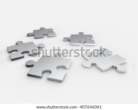 Puzzles, Abstract Background. 3D illustration - stock photo