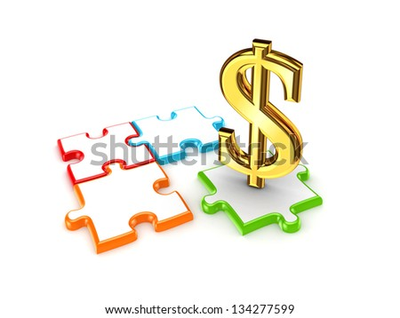 Puzzles and symbol of dollar.Isolated on white background.3d rendered.