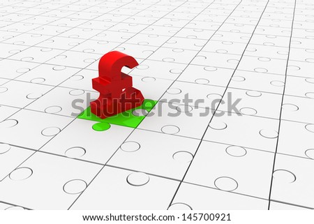 Puzzles and symbol of Pound Sterling.Isolated on white background - stock photo
