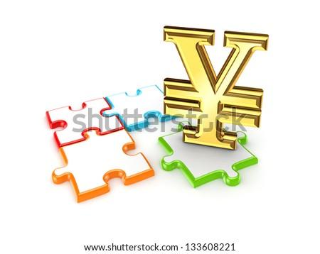 Puzzles and symbol of Yen.Isolated on white background. - stock photo