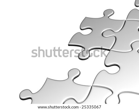 Puzzles clamped on white background with each other - stock photo