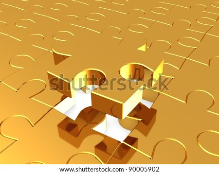 Puzzles gold, 3D - stock photo