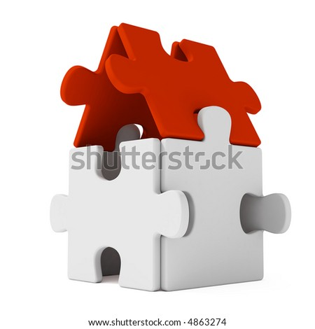 Puzzles home with red roof - stock photo