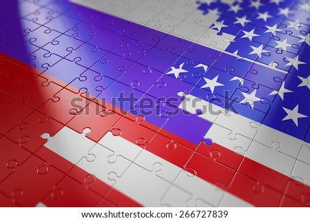 puzzles in the form of flags of Russia and USA - stock photo