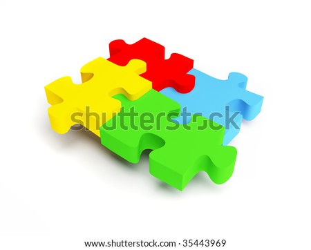 Puzzles on white background.