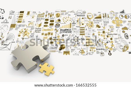 puzzles partnership 3d and hand drawn business strategy as concept - stock photo