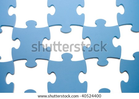 Puzzles with missing parts on the white - stock photo