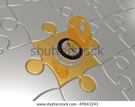 Puzzles with the lock and a key on a white background - stock photo