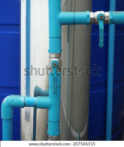 pvc pipe line system with ball valve - stock photo