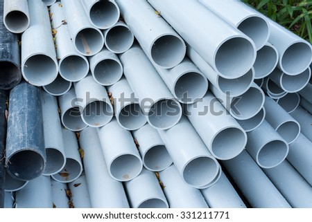 pvc pipes close up - stock photo
