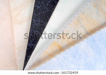 pvc plastic cladding panel samples - stock photo