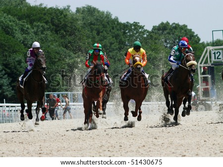 PYATIGORSK, RUSSIA - JULY 12: Start racing for the prize of Russian President July 12, 2009 in Pyatigorsk, Caucasus, Russia. - stock photo