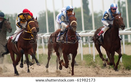"PYATIGORSK, RUSSIA - SEPTEMBER 26: The race for the prize of the ""Eolovi Arfi""; The jockey Saitgaleev,Scvachev and Hatkov; September 26; 2010 in Pyatigorsk; Caucasus; Russia."
