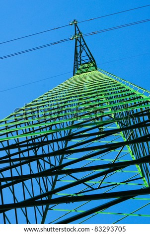Pylon agains a deep blue sky - stock photo