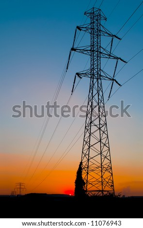 pylon at sunrise - stock photo