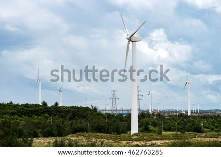 Pylon in substation blue sky white cloud background