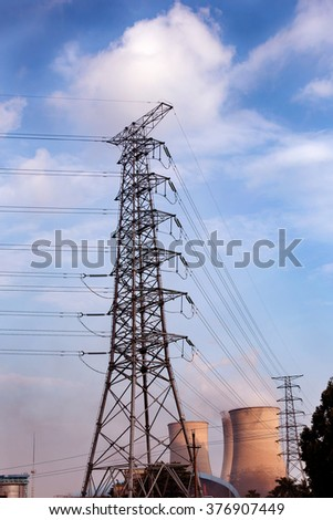 Pylon in the blue sky background