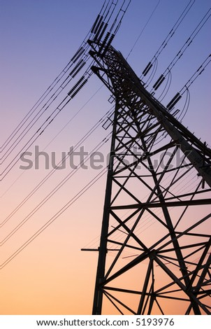 Pylon silhouette at sunset. Photographed in Melbourne, Australia.