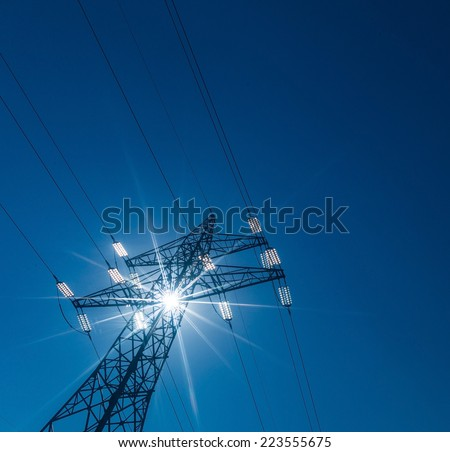 pylon, symbol photo for electricity production, supply and mains - stock photo