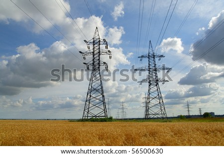 Pylons. Clouds. - stock photo