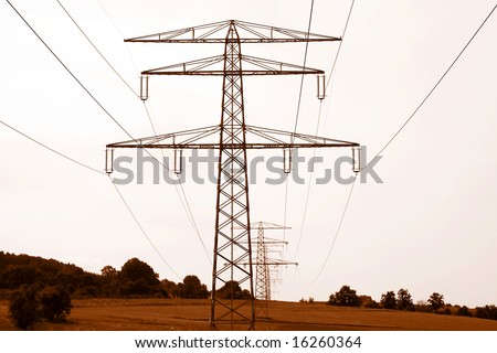 pylons in a row behind each other - vintage look