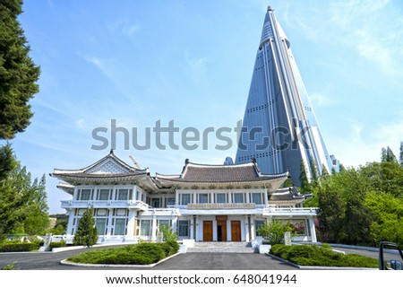 Pyongyang Embroidery Institute And The Ryugyong Hotel. May 02, 2017.  Pyongyang, DPRK