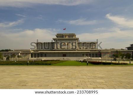PYONGYANG, NORTH KOREA - CIRCA APRIL 2012: Kim Il-sung Mausoleum (Kumsusan Memorial Palace) during the celebrating centenary birth of President Kim Il Sung. - stock photo