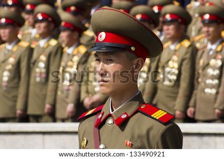 PYONGYANG, NORTH KOREA - CIRCA APRIL 2012 : North Korean  soldier at the military parade in Pyongyang circa April 2012 of the 100th birthday of  the late North Korean leader Kim Il Sung. - stock photo