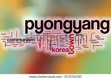 Pyongyang word cloud concept with abstract background - stock photo