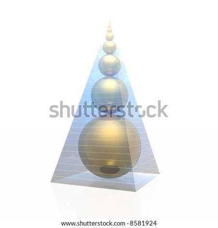 pyramid and golden ratio spheres (magic pyramid by A.Golod) - stock photo
