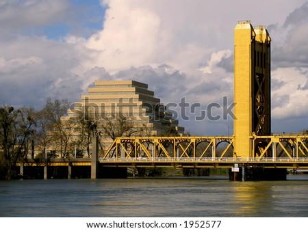 Pyramid and Tower Bridge Sacramento - stock photo