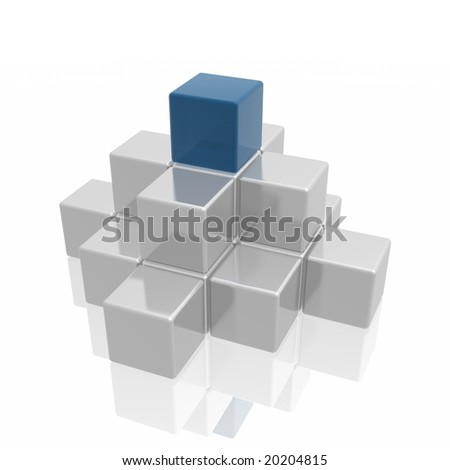 pyramid (blue and silver series) - stock photo
