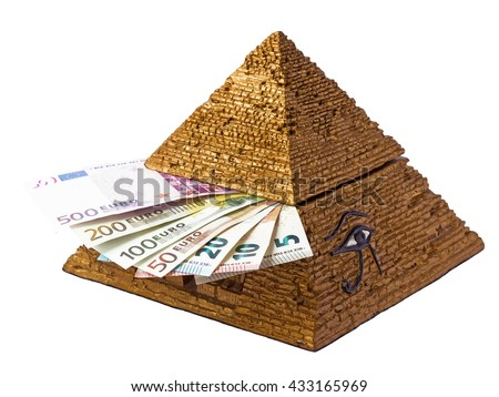 Pyramid box  with money.Pyramid  of Egypt and euros.Pyramid eye. - stock photo