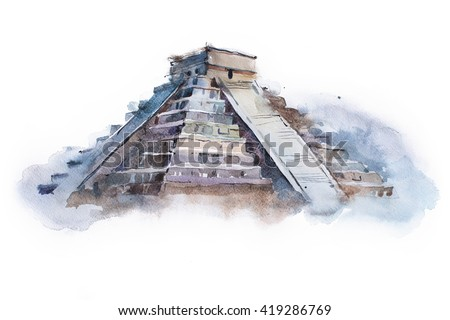 pyramid Chichen Itza in Mexico watercolor drawing. Temple of Kukulkan aquarelle painting - stock photo