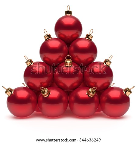 Pyramid Christmas balls red New Year's Eve baubles group adornment decoration glossy spheres ornament. Happy Merry Xmas traditional wintertime holidays celebrate greeting card concept. 3d render - stock photo