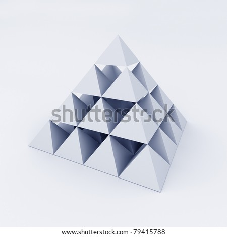Pyramid composed of small pyramids. 3d illustration - stock photo